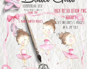 Ballet Girls Digital Clipart | Ballerina Girl Pink Pointe Border | Hand Painted Watercolor | Personal&Commercial Use | PNG Images