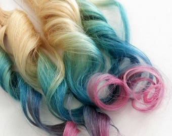 Teal Blue Pink Lavender Tape in Remy Blonde Colormelt Rainbow Ombre Human Hair Extensions (10 pce)