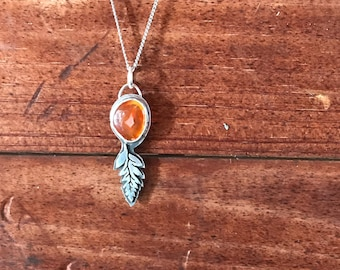 Sterling Silver Fern with Red Agate Pendant