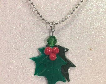 Holly Leaf Necklace with Green Crystal