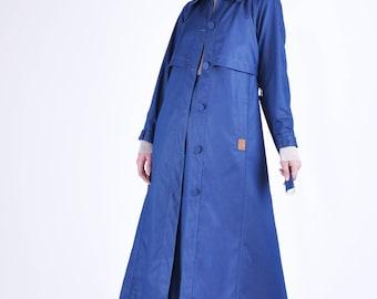 Shiny Denim Trench coat Vintage Coat Modest Coat Spring coat women's trench coat long coat jacket