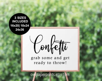 Confetti, Grab Some and Throw Sign - Printable PDF, Send Off, Wedding Rice, New Years Party, Graduation