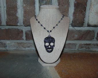 Large Rosary Chain Skull Necklace