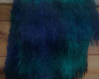 Vintage mohair scarf, silky in deep midnight blue and pine green