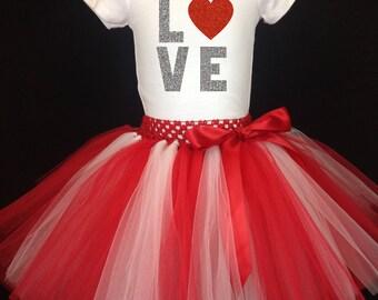 Valentines Day Tutu Set, Red White Tutu, Red White Tutu Set, Girls Tutu, Valentines Red White Tutu, Love Shirt, Love Tutu Set, Red Tutu