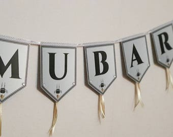 Personalised Handmade BUNTING Custom Decoration Banner Flags FOR Celebration Party Wedding / Baby / Umrah Hajj / Eid / NAME / Muslim Message