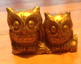 Pair of Vintage Brass Owls Sat on a Branch