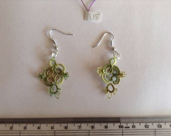 Hand tatted variegated olive green earrings