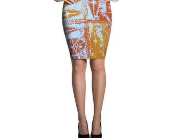 Afro Abstract Pencil Skirt
