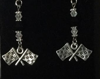 Black and white crystal checkered flag earrings