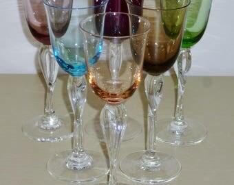 6 Mikasa FRENCH TWIST Wine Goblets Vintage glasses Elegant Glass Hollywood Regency MCM Ruby Green Blue Pink Smoke Amethyst