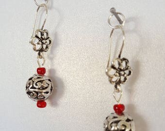 Valentines Metal Flower-Red Crystal Bead Earrings