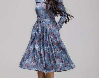 """Dress """"LIUCE"""" in blue with floral pattern"""