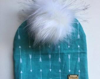 Interchangeable Pompom, arrow, fur, child Hat