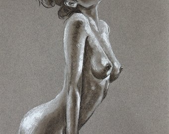 Standing female nude, pastel, original drawing