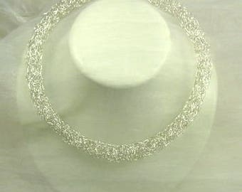 999 fine silver necklace filigree crochet-delicate choker-filigree Jewelry-silver jewelry 1 cm thick-round filled