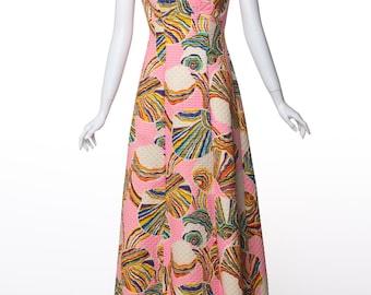 Mr. Blackwell Pink Colorful Swirl Print Rhinestone Maxi Dress 1960's
