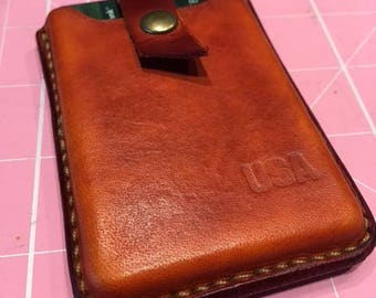 "Genuine leather smallest mini  wallet card holder  2,5"" by 3.5"" ,keeps 8 credit cards and cash"