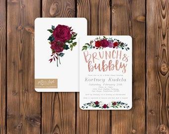 Romantic Rose Gold Bridal Shower Invitation