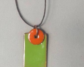 pea green enamel pendant