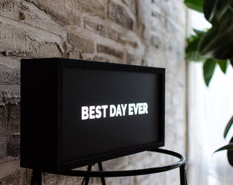 Positive Quote Lightbox | Best Day Ever | Bedroom Lighting | Bedside Lamp | Night Light | LED Desk Lamp | Positive Vibes | FREE shipping