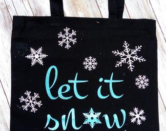 Black Let it Snow Tote Bag, Tote Bag with Snowflakes, Birthday Gift Tote Bag, Customized Tote Bag, Black Tote bag