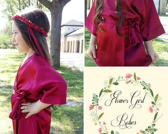 Embroidered Kids Robe, Customized Flower Girl Robe, Silk Satin Robe, Children's Monogrammed Robe, Burgundy Kids Robe, Junior Bridesmaid Robe