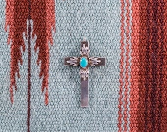 Vintage Sterling & Turquoise Cross Pendant Signed LH