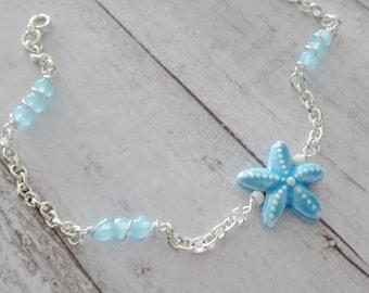 Silver Chain Blue Starfish Ankle Bracelet-Anklet-Silver Anklet-Beaded Chain Anklet-Blue Bead Ankle Bracelet-Beach-Boho-Coastal-Gift for Mom