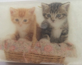Handmade organic picture soap, cute cats image soap