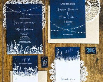 Under The Stars Garden Lights Wedding Invitation Printable Set of 4