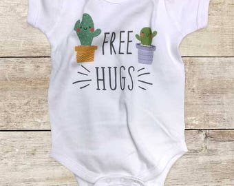 Free Hugs funny cactus succulents design baby bodysuit baby shower gift - Made in USA - toddler kids youth shirt