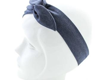 Blue Denim wire headband