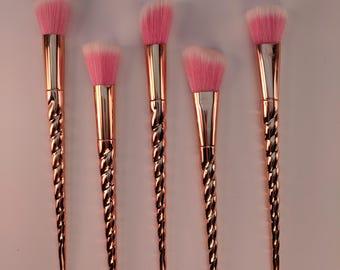 Rose gold fantasy creature mermaid unicorn makeup face brushes