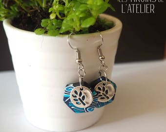 Blue, leaf earrings, ethnic, Bohemian, boho chic unique, colorful, psychedelic