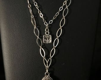 Layered Tri-Strand Silver Moonstone Necklace With Seed Pearls and Flower Charm