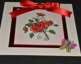 Hand made to order red rose card blank insert for own message