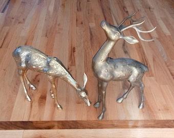 Pair of Large Brass Deer - Large Brass Doe - Large Brass Buck - Fireplace Decor - Farmhouse Decor - Cabin Decor