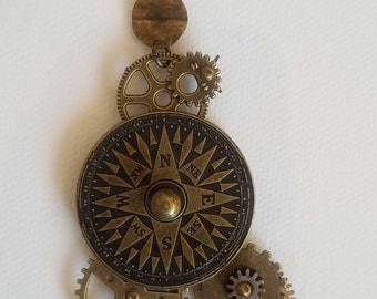 Rustic Compass Necklace Gears Bronze Steampunk
