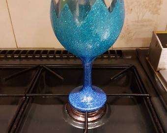 Blue glitter gin glass