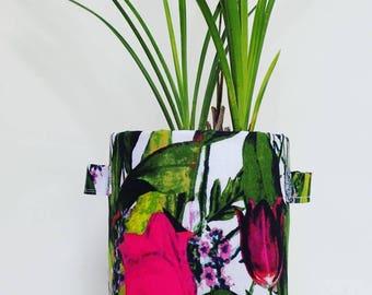Fabric Plant Pot | Storage Basket | Home Decor | Tulip Flower Garden Print Planter | Gift | Fabric Basket | Storage Container | Large