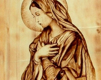 Virgin Mary art, Mother of God picture, religious picture on wood, religious pyrography, religious icon on wood, Catholic art on wood