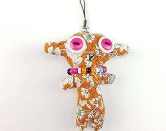 Plush keyring, keychain, button rag doll, novelty button doll, stuffed plush