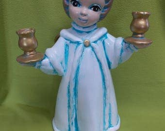 Blue White Angel holding Candle holders-painted ceramics