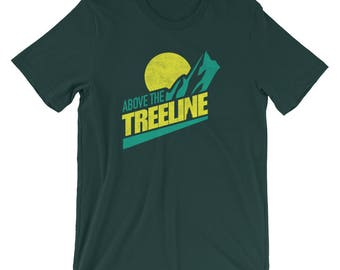 Above The Treeline (Yellow/Green), An Outdoor Hiking and Mountain Biking T-shirt for the Adventurer