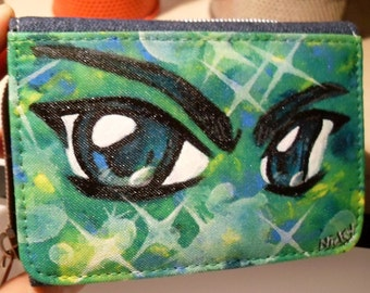 Manga eyes. Painted wallet, purse, Portmonaie, wallet, greenish blue, jeans