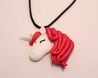 Unicorn polymer clay necklace