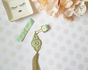 Mint Gold Tassel; pen clips, pen loops