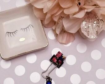 Birthstone Owl Navy Roses; pen clip, pen loop