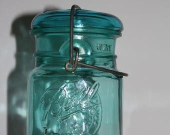 Green Glass Ball Jar Pint Size, Bicentennial Celebration